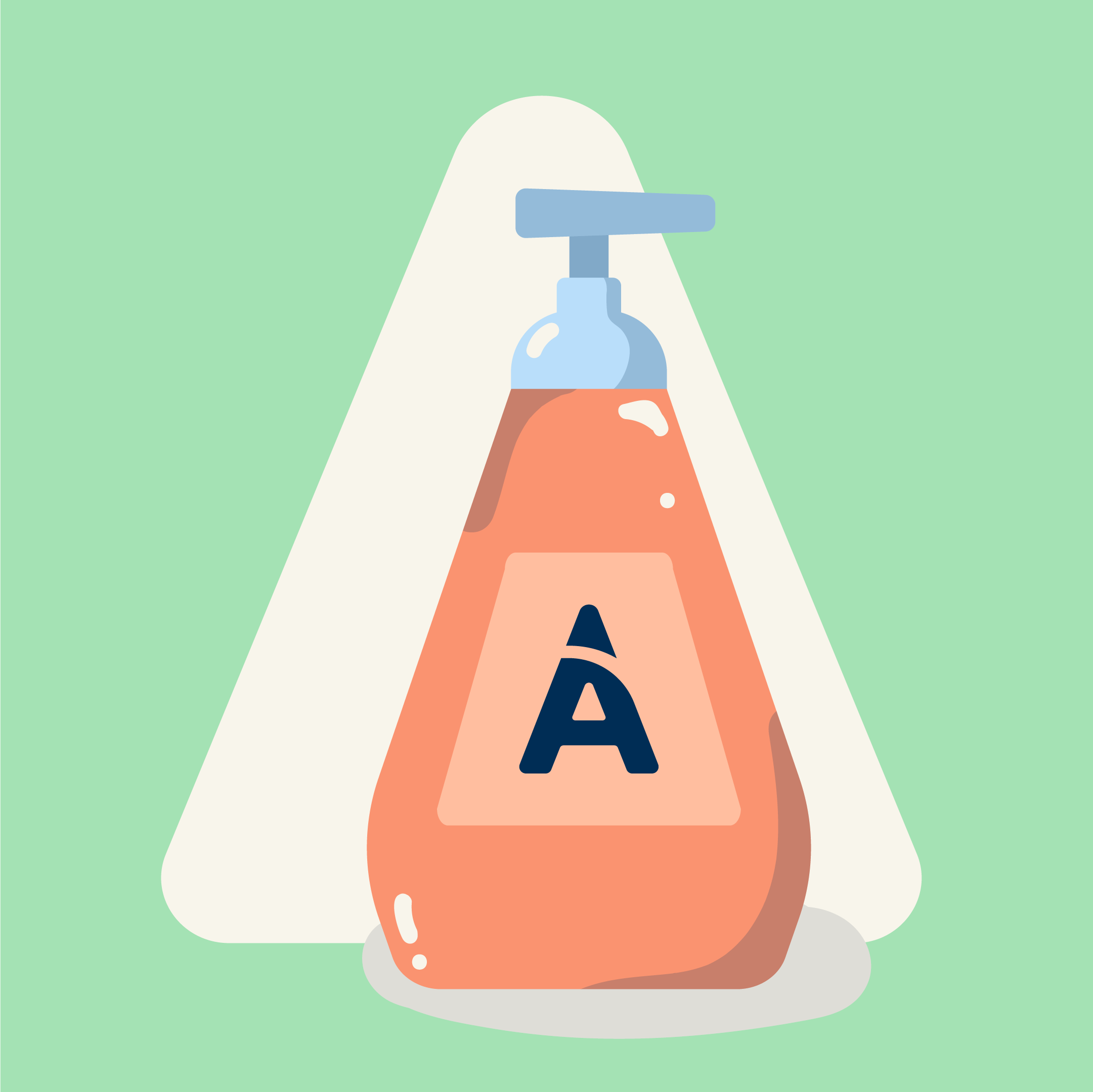 graphic drawing of a soap bottle with the aspen dental logo